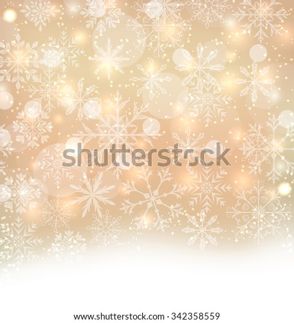 Illustration Shimmering Xmas Light Background with Snowflakes, Winter Wallpaper - Vector - stock vector