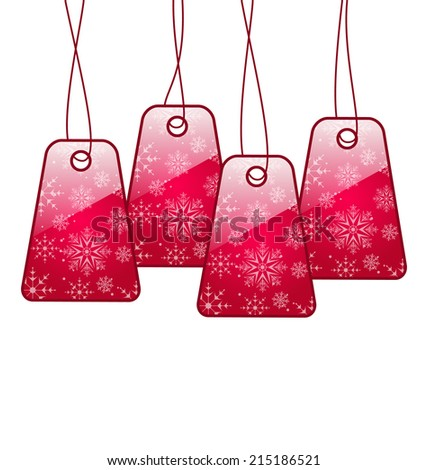 Illustration shiny labels isolated on white background - vector - stock vector