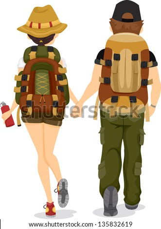 Illustration showing Back View of a Couple wearing Backpacks for Hiking - stock vector