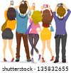 Illustration showing Back View of Teenagers Taking Pictures with their Cameras - stock vector