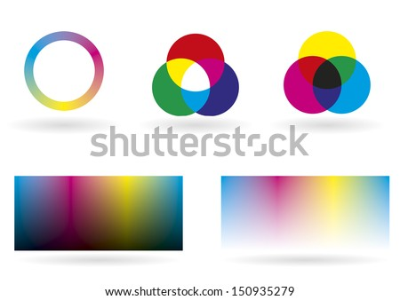 Illustration showing some charts, spectrums and graphics for color management - stock vector