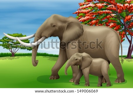 Illustration showing the elephant - stock vector