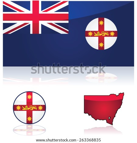 Illustration showing the flag and map of the state of New South Wales, in Australia - stock vector