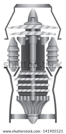 Illustration showing the structures of jet engine - stock vector