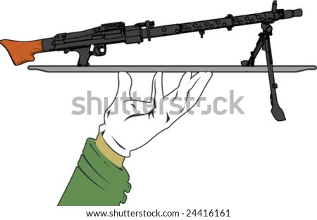 Illustration shows a machine gun and a military service theme - stock vector
