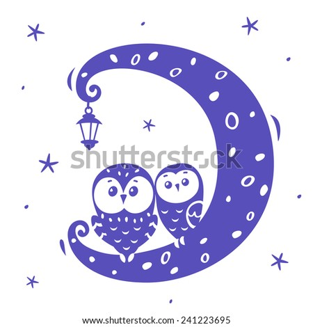 illustration silhouette cartoon cute and funny owls on the moon - stock vector