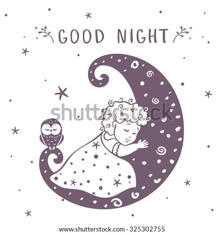 illustration silhouette cute baby is sleeping on the moon with owl. Vector illustration - stock vector