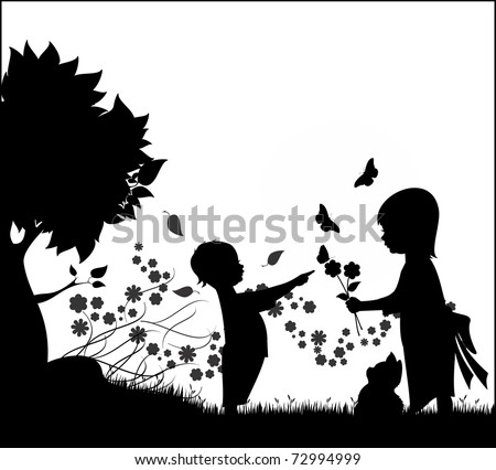 Illustration silhouette of two children, a boy and a girl playing with flowers, butterflies and a kitten - stock vector
