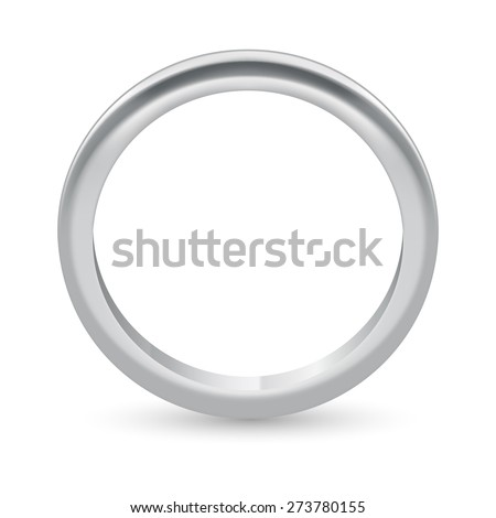 Illustration silver ring  isolated on a white - stock vector