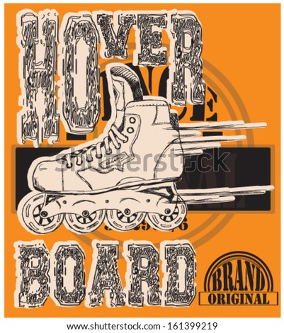 illustration skate and artistic type and background - stock vector