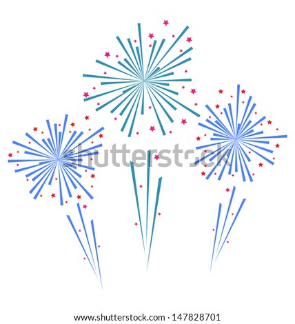 Illustration sketch abstract colorful exploding firework - vector - stock vector