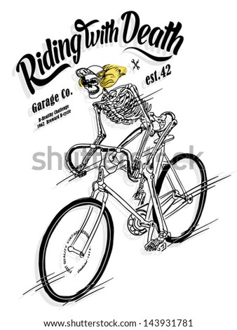 illustration sketch bicycle with skeleton skull - stock vector