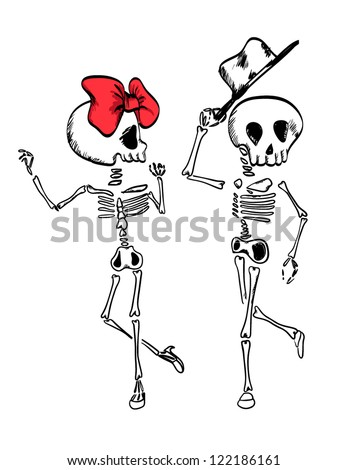 illustration sketch drawing skull dance with ribbon and hat - stock vector