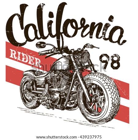 illustration sketch motorcycle california t shirt prints - stock vector