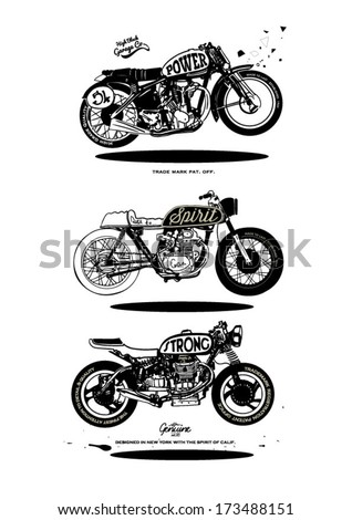 illustration sketch motorcycle with wording - stock vector