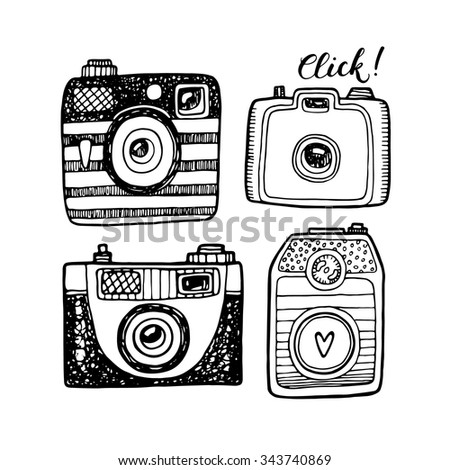 Illustration sketch vintage retro photo cameras set. Isolated vector illustration. - stock vector