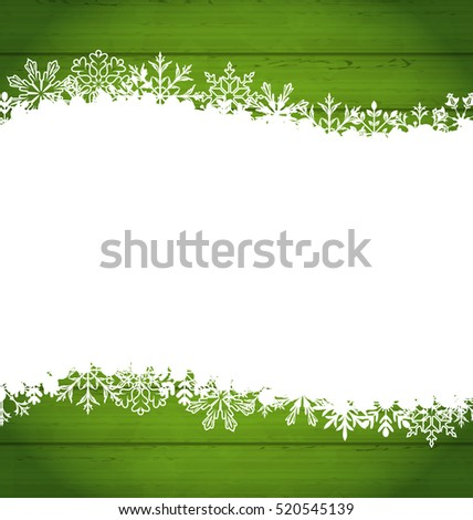 Illustration Snowflakes Border for Happy New Year, Space for Your Text - Vector