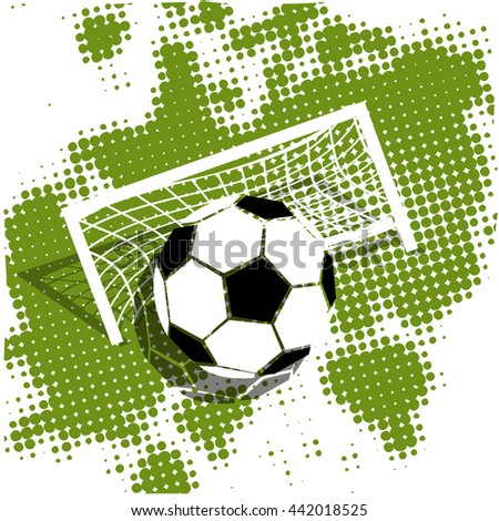 Illustration Soccer ball on a green background - stock vector