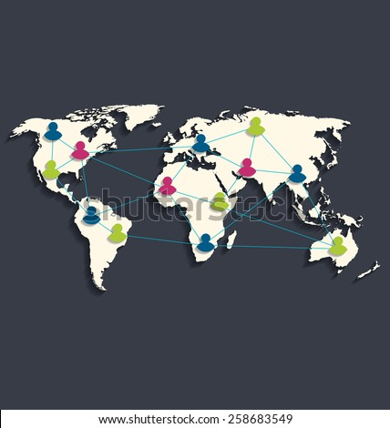 Illustration social connection on world map with people icons, flat style design with long shadow - vector  - stock vector