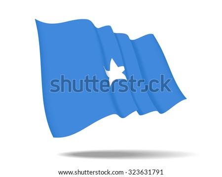 illustration Somalia flag waving Isolated on White Background,vector - stock vector
