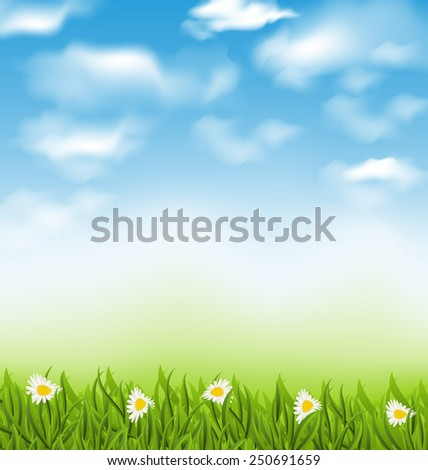 Illustration spring natural background with blue sky, clouds, grass field and flowers chamomiles - vector - stock vector