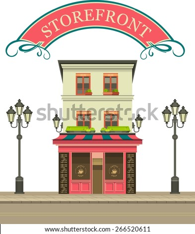 illustration storefront on the ground floor of a multistory building shop cafe on white background - stock vector