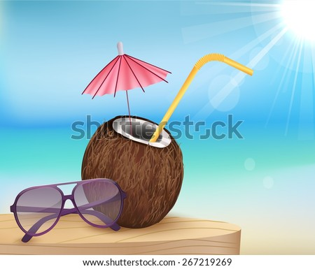 Illustration summer beach, glasses with young coconut - stock vector