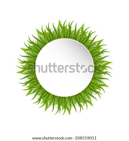 Illustration summer grass circle, go green concept - vector - stock vector