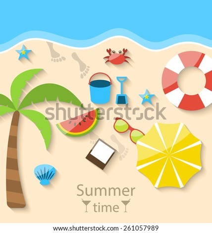 Illustration summer time with flat set colorful simple icons on the beach - vector - stock vector