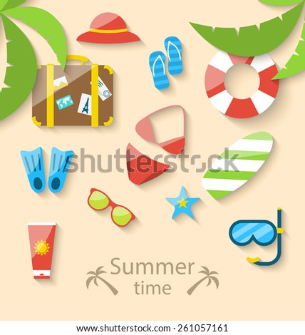 Illustration summer vacation time with flat set colorful simple icons - vector - stock vector