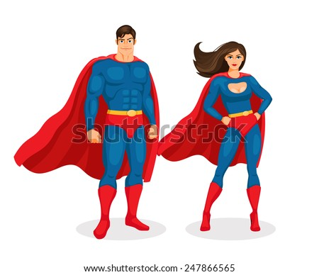 Illustration superman and superwoman isolated on white background. Vector Superhero Couple - stock vector