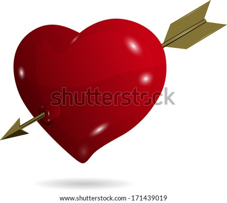 illustration symbolic red heart on a white background - stock vector