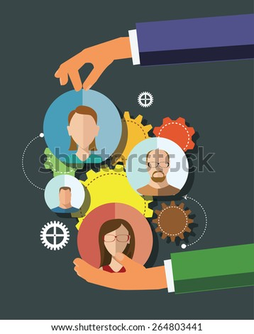 Illustration  team working Flat Style - stock vector