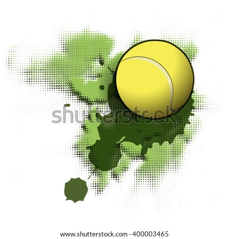 Illustration tennis ball on abstract green background - stock vector