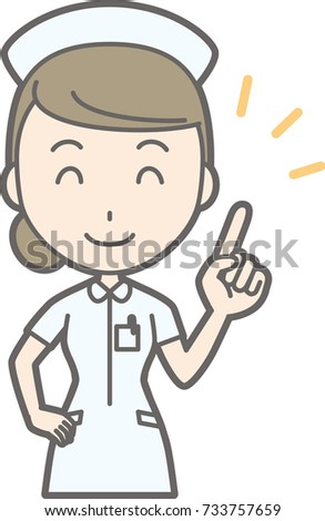 Illustration that a female nurse wearing a white suit is pointing at her finger with a smile