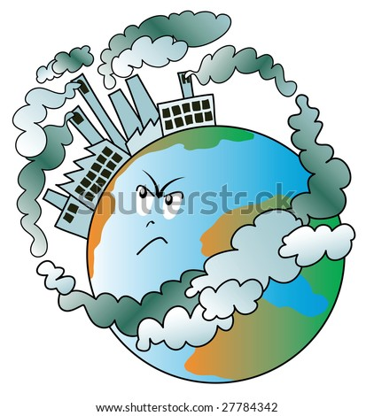 Illustration that shows our planet covered with angry because polluting factories - stock vector