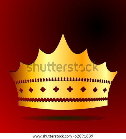 Illustration the gold royal crown for jewel design - vector - stock vector