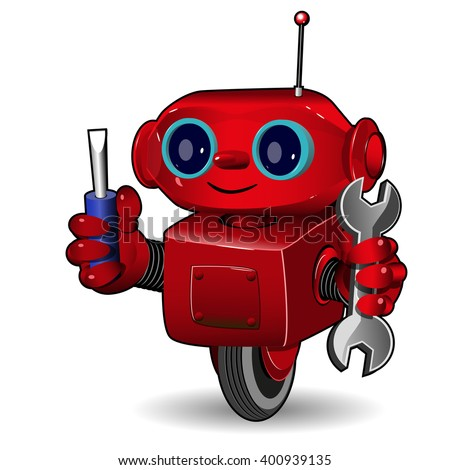 Illustration the red robot on the wheel with tool - stock vector