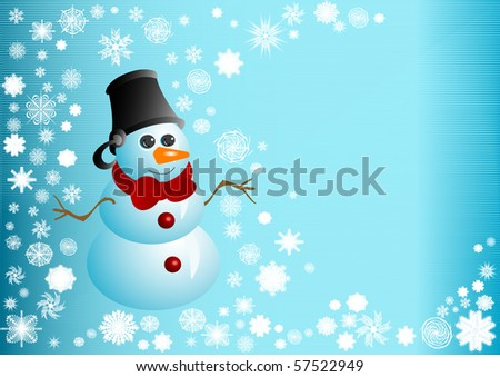Illustration the Snowman of blue color with red bow