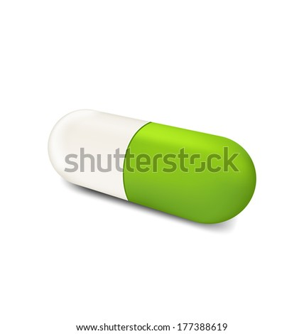 Illustration three-dimensional herbal pill isolated on white background - vector - stock vector