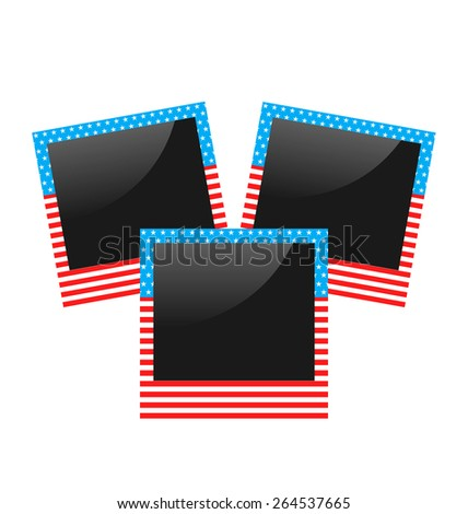 Illustration three photo frame in US national colors isolated on white background - vector  - stock vector