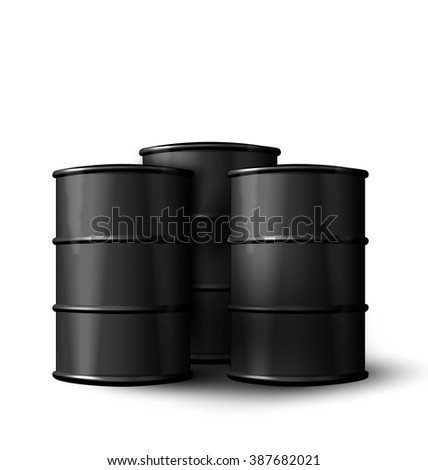 Illustration Three Realistic Black Metal of Oil Barrels Isolated on White Background - Vector - stock vector
