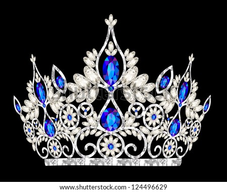 illustration tiara crown women's wedding with a blue stone - stock vector