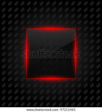Illustration transparent frame with reflection on aluminum background - vector - stock vector