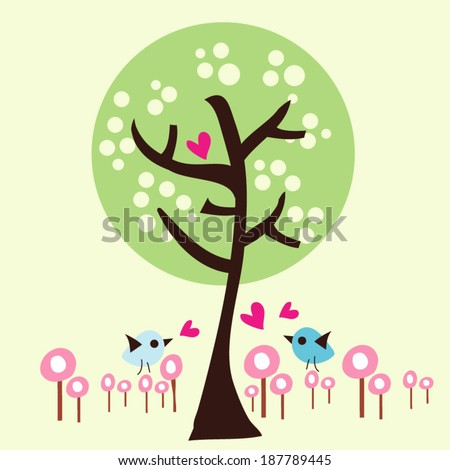 illustration TREE and little birds vector file - stock vector