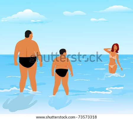 Illustration two thick men (father and son) look at beauty girl - vector - stock vector