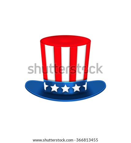 Illustration Uncle Sam's Hat for American Holidays, Isolated on White Background - Vector - stock vector