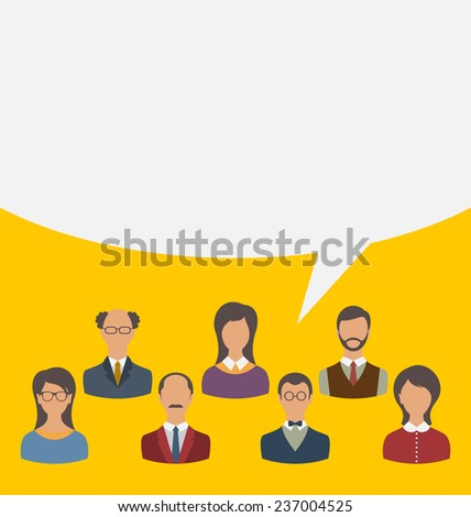 Illustration unity of business people team with speech bubble, modern flat icons - vector - stock vector