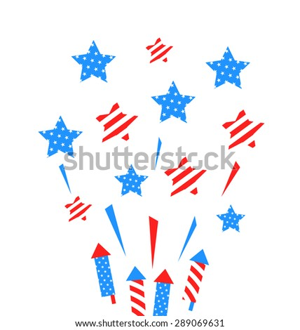 Illustration Usa Background with Rockets and Stars for Independence Day of America, US National Colors - Vector