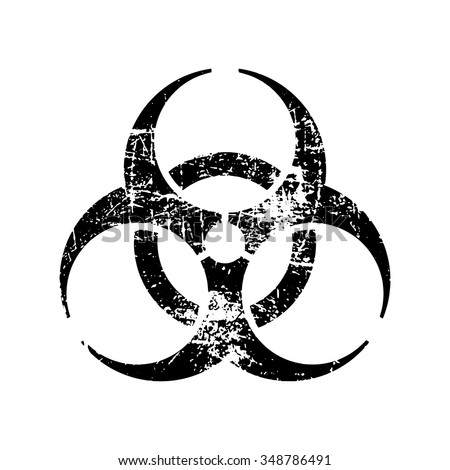illustration vector black biohazard grungy rubber stamp symbol isolated on white - stock vector